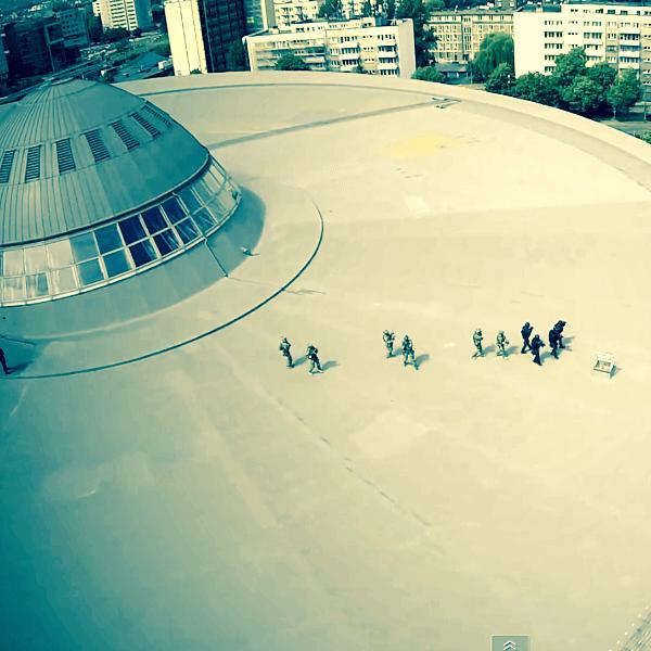 Desant Policji na Spodek 27.05.2014