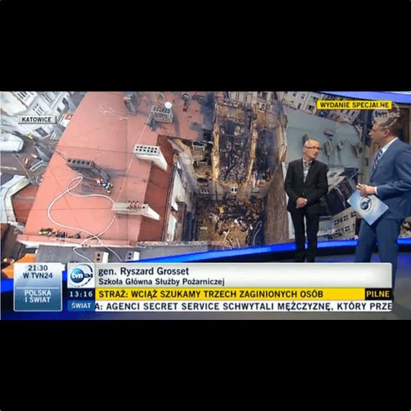 Relacja z wybuchu gazu w kamienicy w Katowicach dla TVN24