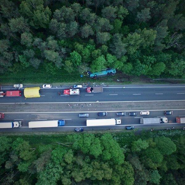 Wypadek autobusu pod Częstochową